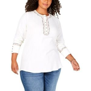 LUCKY BRAND Tops - Lucky Brand Women's Embroidered Long Sleeve Top
